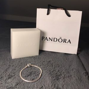 Pandora Moments Heart Clasp Snake Chain Bracelet.
